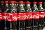 Mulhouse – France – 3 January 2018 – closeup of coca-cola bottles at Cora supermarket